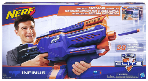 Get ready to blast into action with the Nerf Infinus! The speed load technology means that you can automatically load darts into the drum.  It has on-the-go dart loading for non-stop battling with your friends in the garden or the woods!  With a 30-dart removable drum you'll never run out of darts in action!  You can load a and fire darts without removing the drum! Fully motorised blaster! this is the only Nerf Gun you will ever need!
