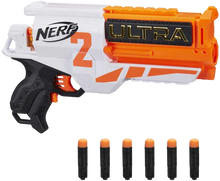 Load image into Gallery viewer, The Nerf Ultra Two motorized blaster features fast-back reloading. The 6-dart cylinder is open in the back -- you can look inside to see how many darts are left to know when to reload. Hold down the acceleration button to power up the motor, and press the trigger to fire 1 dart. Includes 6 Nerf Ultra darts that are compatible only with Nerf Ultra blasters. Darts fly up to 120 feet (36 meters)!