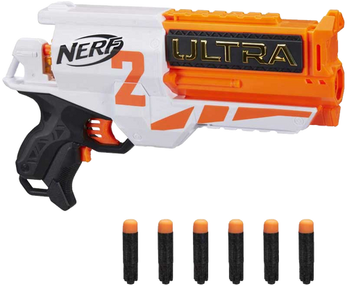 The Nerf Ultra Two motorized blaster features fast-back reloading. The 6-dart cylinder is open in the back -- you can look inside to see how many darts are left to know when to reload. Hold down the acceleration button to power up the motor, and press the trigger to fire 1 dart. Includes 6 Nerf Ultra darts that are compatible only with Nerf Ultra blasters. Darts fly up to 120 feet (36 meters)!