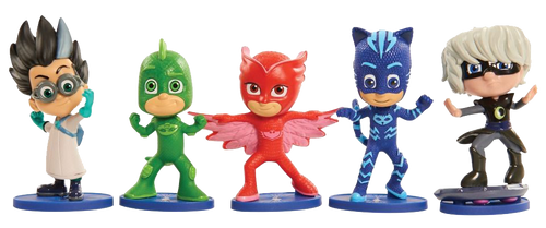 PJ Masks Collectible Figures 5 pack.  Bring the adventures of PJ Masks home with the PJ Masks Collectible Figure Pack! This deluxe pack of PJ Masks 10cm figures features the heroes: Catboy, Owlette, Gekko, and PJ Masks Villians in dynamic action poses. Perfect for play and display!