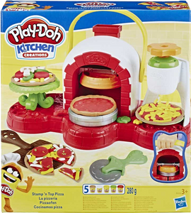Girls and boys get to pretend they are making their very own pizza's with Play-Doh Stamp'N' Top Pizza maker! They can run their pizzeria and serve what they make to family and friends.
