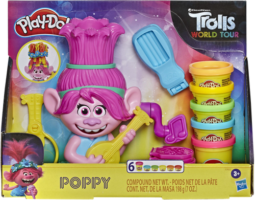 Every girl loves the adorable character Poppy from Trolls World Tour, she has now been combined with Play-Doh and every girls love of hair styling. She comes complete with all the girly colours of play-doh you require to give her some very funky syles!