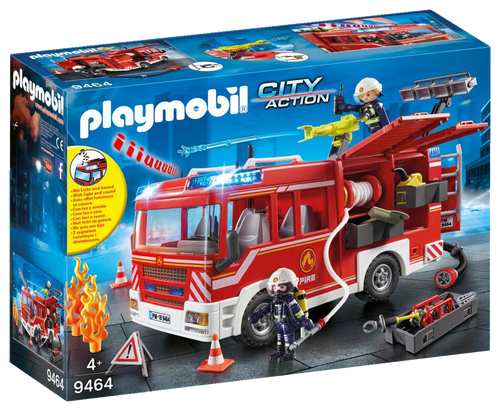 The Playmobil 9464 City Action Fire Engine is ready for any emergency call.  The vehicle features lights and siren sounds for realistic play as well as a removable roof for easier access to the interior.
