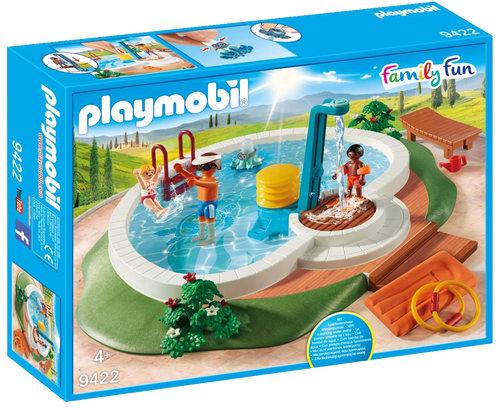 Enjoy the sun and a cooling swim with the Playmobil 9422 Family Fun Swimming Pool playset. The set features a pool, which can be filled with water and includes a functioning shower; simply press the pump to activate. There is also a floating raft for a relaxing float in the pool and, for added fun, an octopus toy, which can squirt water!