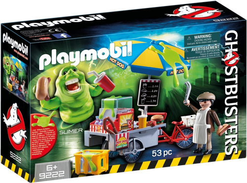 We all know the lovable green character 'Slimer' from the 80s film Ghostbusters!  Now Playmobil have created a playset which includes a hot dog stand, Slimer is getting into trouble eating all the hot dogs and getting slime everywhere, this set includes realistic food and drink and silicone slime splashes that stick on all smooth surfaces.