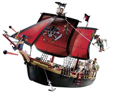 Load image into Gallery viewer, The Playmobil Pirates Ship is the ideal gift for any sailors out there!  Your child will have fun pretending to be a pirate and sailing the seven seas on this fantastic pirate ship!  They can fire canons and make the characters walk the plank!