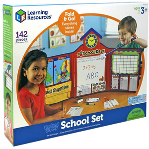 The Pretend & Play school set makes learning fun for kids! they can switch things arund and be a teacher and help all of their cuddly toys and dolls to learn as they would at school!  Every child likes to play being a grown up, it's so much fun!  There is everything in this set to make them feel like they are a real school teacher.
