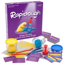 Load image into Gallery viewer, Guess too slow and you lose some dough! Rapidough is the original game of modelling charades.  There's never a dull moment as everyone plays at once - every round! Players take turns at modelling the card entries for their team mates.