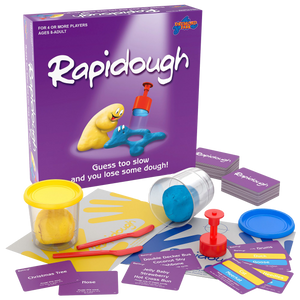 Guess too slow and you lose some dough! Rapidough is the original game of modelling charades.  There's never a dull moment as everyone plays at once - every round! Players take turns at modelling the card entries for their team mates.