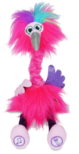 Load image into Gallery viewer, Flossi the Flamingo is the fantastically Sassi Flamingo that your little one will love to dance and sing with.  She dances and swirls when you press one of her feet.  Press and hold the other foot to talk to her, it will record your voice and she will talk back, so much fun for the whole family, your little one will be laughing their head off when they get to Floss with Flossi.
