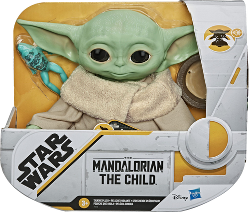 Star Wars fans will love this mysterious alien from the hit series The Mandalorian! He may look like Baby Yoda, but this lovable little creature is called the Child! Squeeze this adorable plush toy to hear him talk, he makes 10 different sounds.  He comes with a frog and bowl.  Grab yours now because he is one of the Galaxy's most wanted!