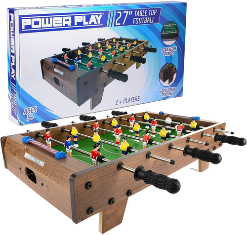 Do you know someone who loves football? Then this table top football is the perfect thing for them, it will be just like being in an arcade.  This high quality table top football game has a wood grain texture and painted team players.  Get ready to compete with friends and family.