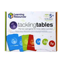 Load image into Gallery viewer, Tacklingtables is the fun card game that helps children quickly learn their times tables 'off by heart', and as children progress, the number of tables they must learn reduces!  Developed by teachers and widely used in classrooms, these colour coded cards ensure that children learn their tables as well as the corresponding division facts.