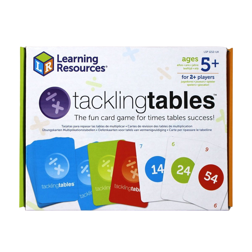 Tacklingtables is the fun card game that helps children quickly learn their times tables 'off by heart', and as children progress, the number of tables they must learn reduces!  Developed by teachers and widely used in classrooms, these colour coded cards ensure that children learn their tables as well as the corresponding division facts.