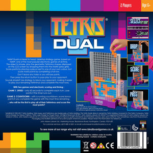 Tetris Dual is a fast head-to-head, tabletop strategy game based upon Tetris – one of the most popular electronic games of all time. The object of the game is to create the Tetrimino shapes displayed on the LCD screen, by dropping them into the play grid. Score points by placing a piece next to one of your own colour, but you can complete more points by completing a full row. Don't leave any holes or you will lose points!