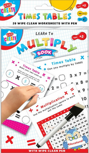 These fantastic wipe clean work sheets that come with a pen, are fantastic for aiding your child's learning, we have 3 to choose from, that help with spelling, times table and general maths & numbers, each pack come with 20 sheets.  Each pack helps with different things