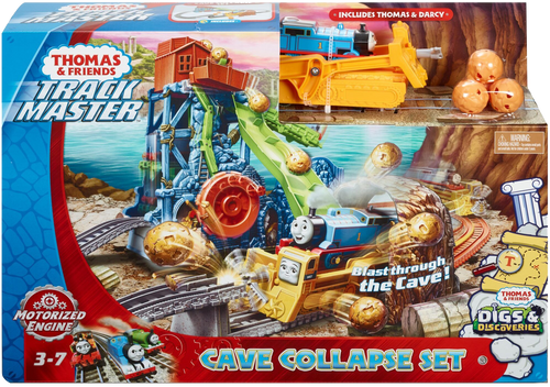 When the cave collapses and boulders crash down, Thomas and Darcy become a digging duo! Darcy knocks down the boulders as she and Thomas ride through the crumbling cave!  Thomas drops onto and powers the digger.  Turn crank to send Thomas to the top! Darcy the digger swats away falling boulders!