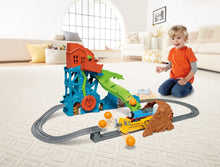 Load image into Gallery viewer, When the cave collapses and boulders crash down, Thomas and Darcy become a digging duo! Darcy knocks down the boulders as she and Thomas ride through the crumbling cave!  Thomas drops onto and powers the digger.  Turn crank to send Thomas to the top! Darcy the digger swats away falling boulders!