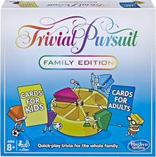 Load image into Gallery viewer, It's the quick-play family trivia game with 2,400 questions. The fun Family Edition game of Trivial Pursuit  has cards for both kids and adults so the whole family can join in.  Gather everyone together for a brilliant gaming experience! The TRIVIAL PURSUIT FAMILY EDITION game features fresh questions and a quick pace, including the new Showdown challenge.  Play individually or in teams, taking turns moving around the board and winning wedges as you answer questions correctly.