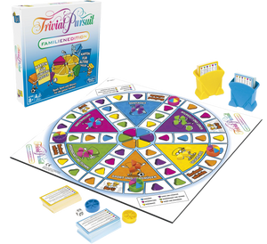It's the quick-play family trivia game with 2,400 questions. The fun Family Edition game of Trivial Pursuit  has cards for both kids and adults so the whole family can join in.  Gather everyone together for a brilliant gaming experience! The TRIVIAL PURSUIT FAMILY EDITION game features fresh questions and a quick pace, including the new Showdown challenge.  Play individually or in teams, taking turns moving around the board and winning wedges as you answer questions correctly.