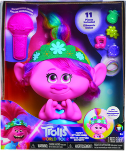 Girls will love the Poppy styling head from Trolls World Tour, they can style Poppy's hair with all the included accessories, she will have hours of fun playing with her beautiful multi-coloured hair.