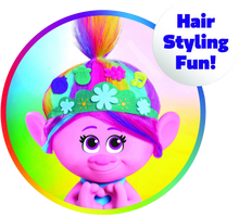 Load image into Gallery viewer, Girls will love the Poppy styling head from Trolls World Tour, they can style Poppy's hair with all the included accessories, she will have hours of fun playing with her beautiful multi-coloured hair.