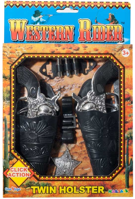 Play cowboys and Indians with this twin set of guns holsters a sheriff badge and plastic bullets.  Boys and Girls will love this Western Rider Set, with click action.  Little ones can pretend they are in a real live cowboy movie!