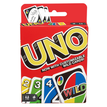 Load image into Gallery viewer, For more than 40 years, Uno has been a card game that just about everyone in the family can play. The object is simple – get rid of all your cards before everyone else. Match the number, colour, or type of card to play; use a wild if you don't have a match, or draw from the pile until you get a card you can play.  Fantastic as a travel game!