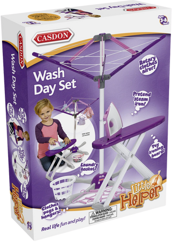 All kids want to do grown up thing and be exactly like mummy and daddy! With the wash day set they get to pretend they are doing the washing just like a grown up and put it out on the line to dry.  It's fun learning everyday tasks!