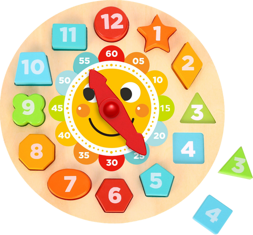 Help your child learn to tell the time with this Wooden Clock with Shapes. Featuring 12 wooden blocks in bright colours and different shapes, this learning clock teaches children how to read hour and minute hands, recognise shapes, and more!