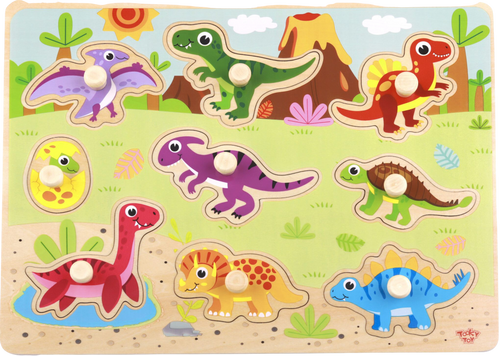 Explore the history of Dinosaurs with Tooky Toy's Wooden Dinosaur Puzzle! Brightly coloured and with 9 different dino's to learn about your child will be amused for a while whilst they play, learn and fit the dinosaurs into the slots!