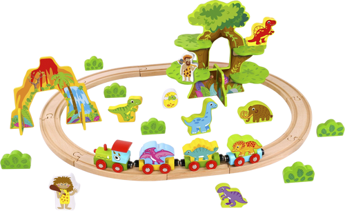 Build and Shape your own wooden railway with this train set. Supplied with train, dinosaurs and tree house, make your own dinosaur railway!  Amazing for rainy day fun indoors.