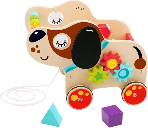 This adorable wooden pull along dog, will give your child hours of fun, this wonderful floopy eared friend is more than just a toy, your child can learn all about colours and shapes through play, this pup will keep your child entertained and educated.