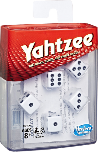 Yahtzee is the fantastic travel dice game that will keep the family occupied for hours.  You shake the dice and check the score sheet to see what sequence gives you the best score, if you are lucky you may even roll a sequence of 5 of the same number, if you do, be sure to shout yahtzee and win lots of points.  Count up your points at the end and the person with the most amount of points wins.