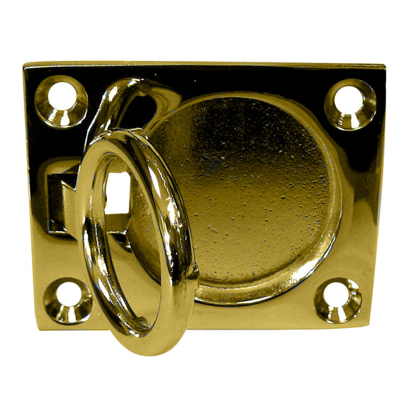 Whitecap Flush Pull Ring - Polished Brass - 2