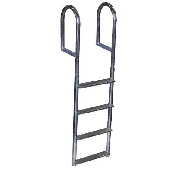 Dock Edge Welded Aluminum Fixed Wide Step Ladder - 4-Step [DE2044F]