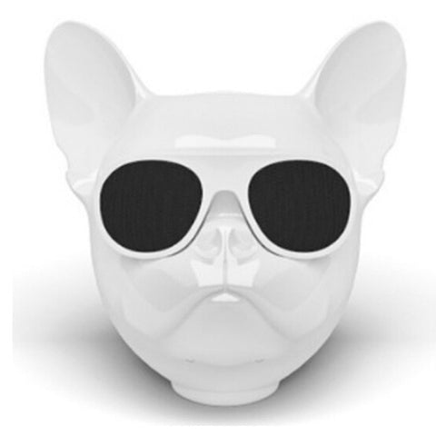 Aerobull Bulldog Dog Head Bluetooth Wireless Speaker (White)