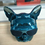 Aerobull French Bulldog Bluetooth Metallic/Chrome Dog Speaker (Blue)