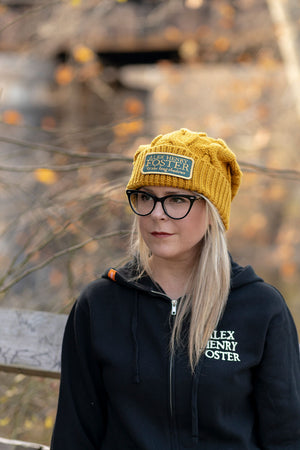 """Perpetual Glimmer"" Pompom Cable-Knit Beanie - Golden Yellow"