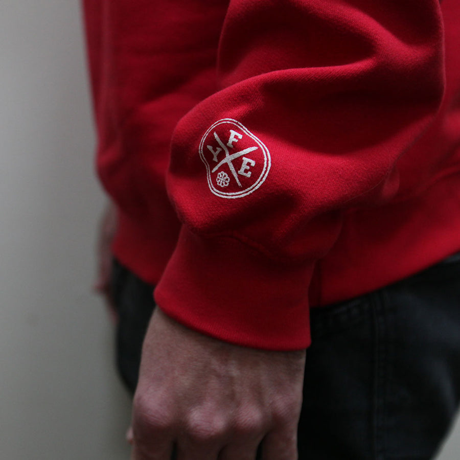 """Falling Into The Sun's High View"" Pullover Sweatshirt - Red"
