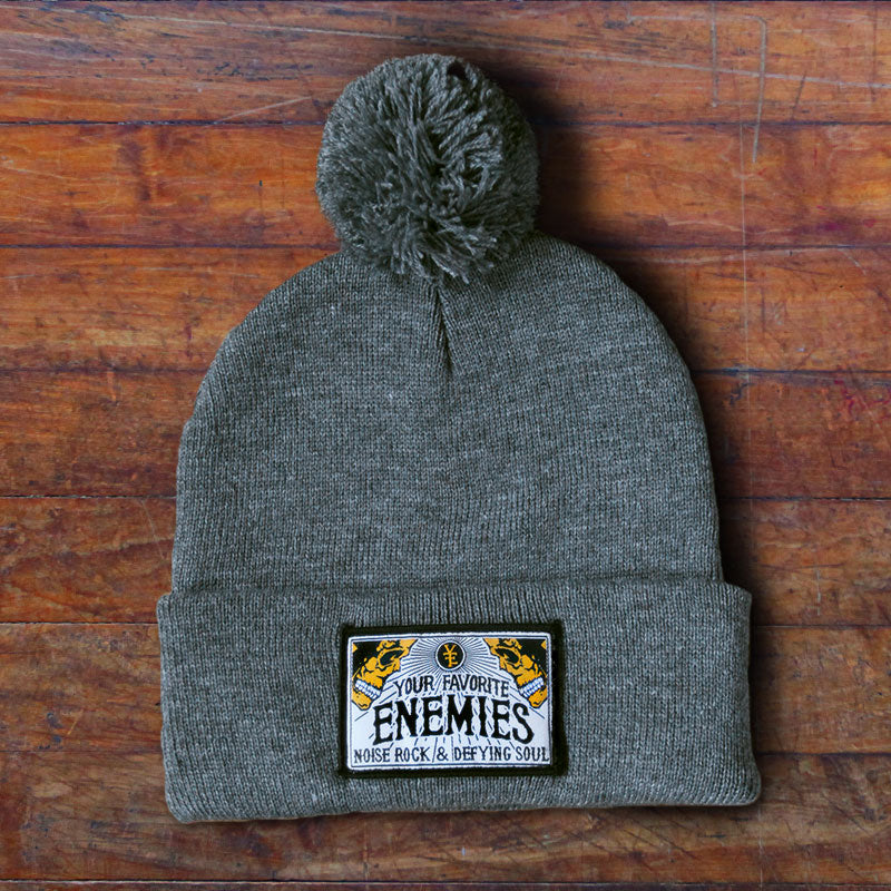 """Head Full Of Wonders"" Pom-Pom Beanie - Grey"