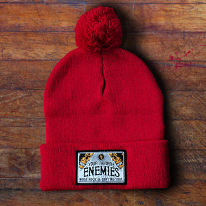 """Head Full Of Wonders"" Pom-Pom Beanie - Red"