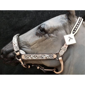 Custom Black and Silver Show Headstall