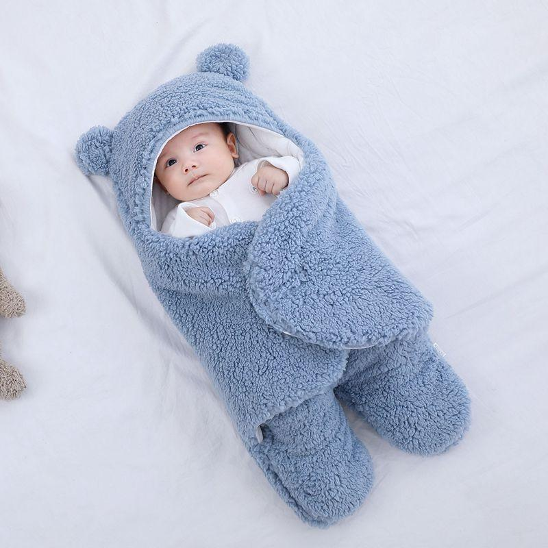 Fluffy Fleece Soft Baby Sleeping Bag Swaddle