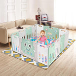 Natural Baby Foldable Playpen, Baby Safety Play Yard with Activity Board, Indoors or Outdoors (14 Panel) - Natural Baby