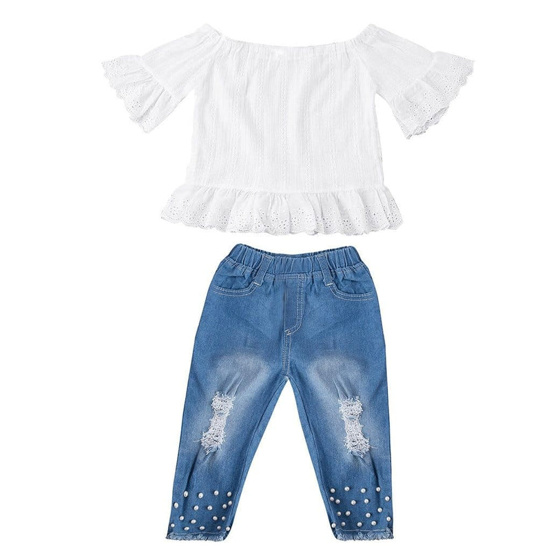 Children Girls Summer Baby Short Sleeve Solid Tops + Denim Pants ManiBaa