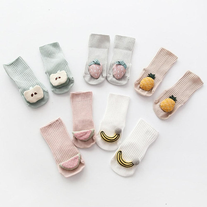 Cotton Baby Socks Cartoon Fruit Newborn Socks Rubber Anti Slip ManiBaa