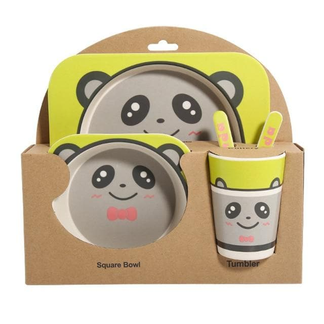 Cute Baby Dishes Set Eco-friendly Bamboo Fiber Dinnerware 5pcs/set ManiBaa