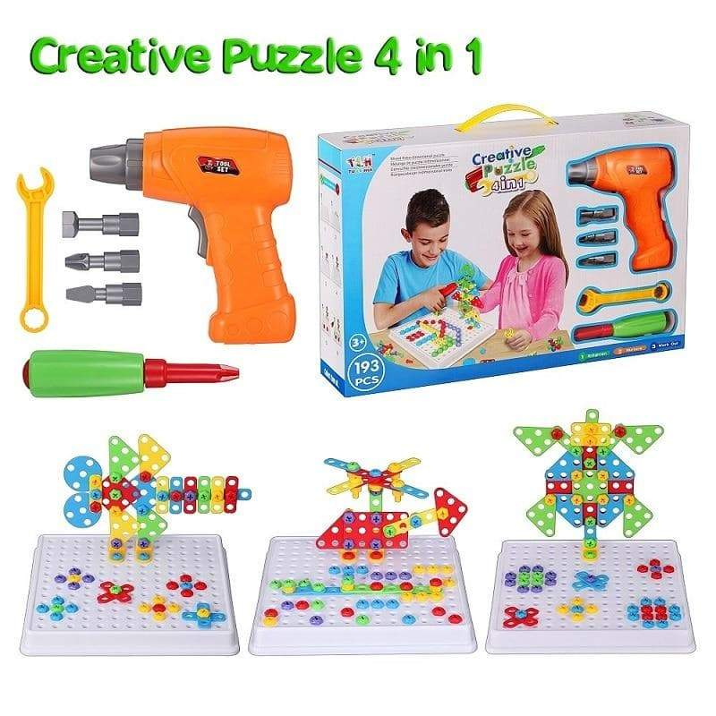 Electric Drill Screw 3D Puzzle Toys For Children Boys DIY 193Pcs ManiBaa