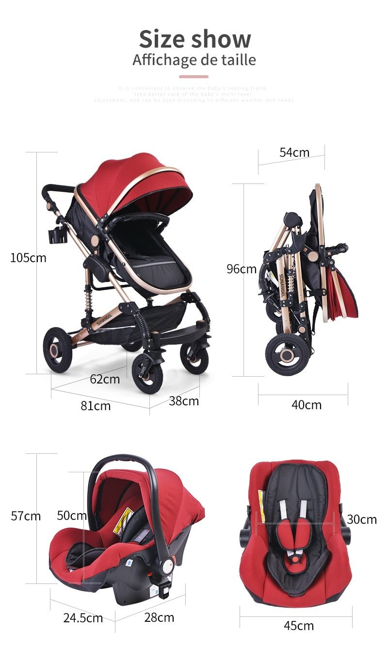 Luxurious Baby Stroller 3 in 1 Portable Travel Baby Carriage Folding ManiBaa